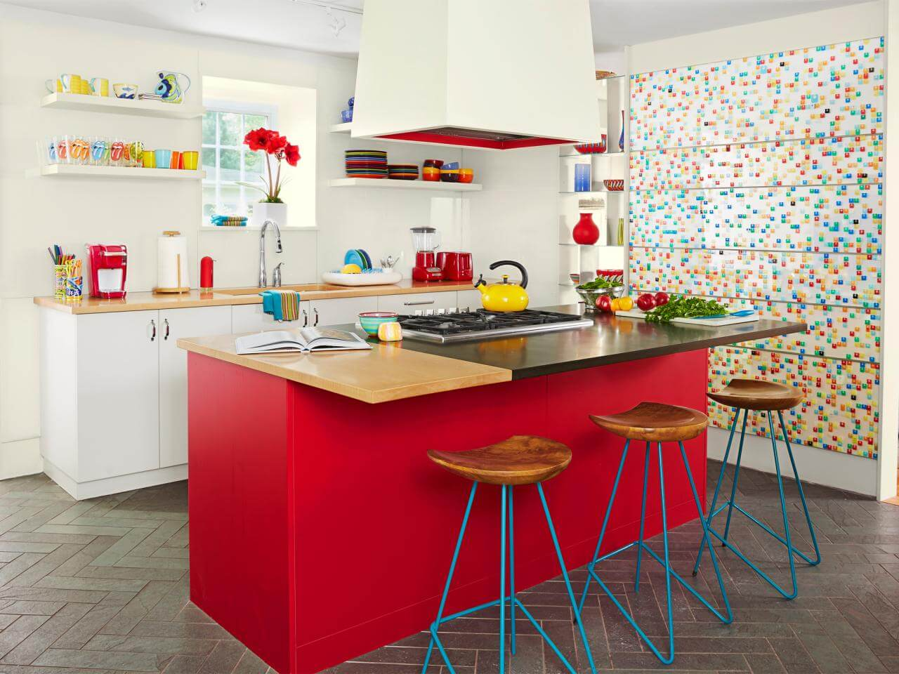 beautifully colored kitchen