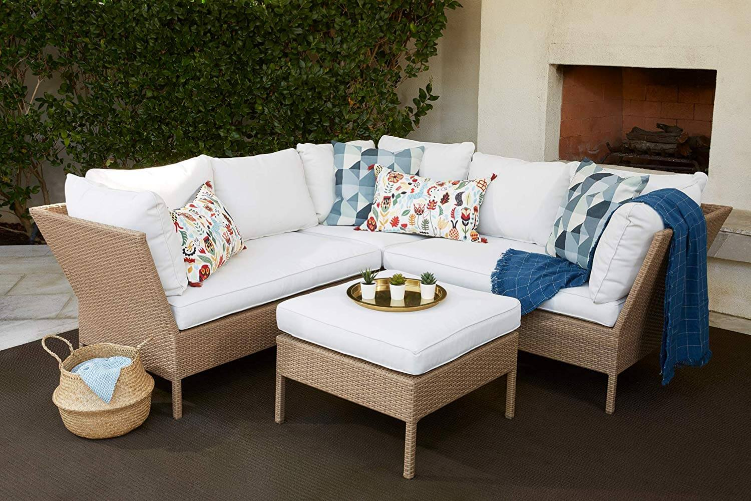 White outdoor living set up