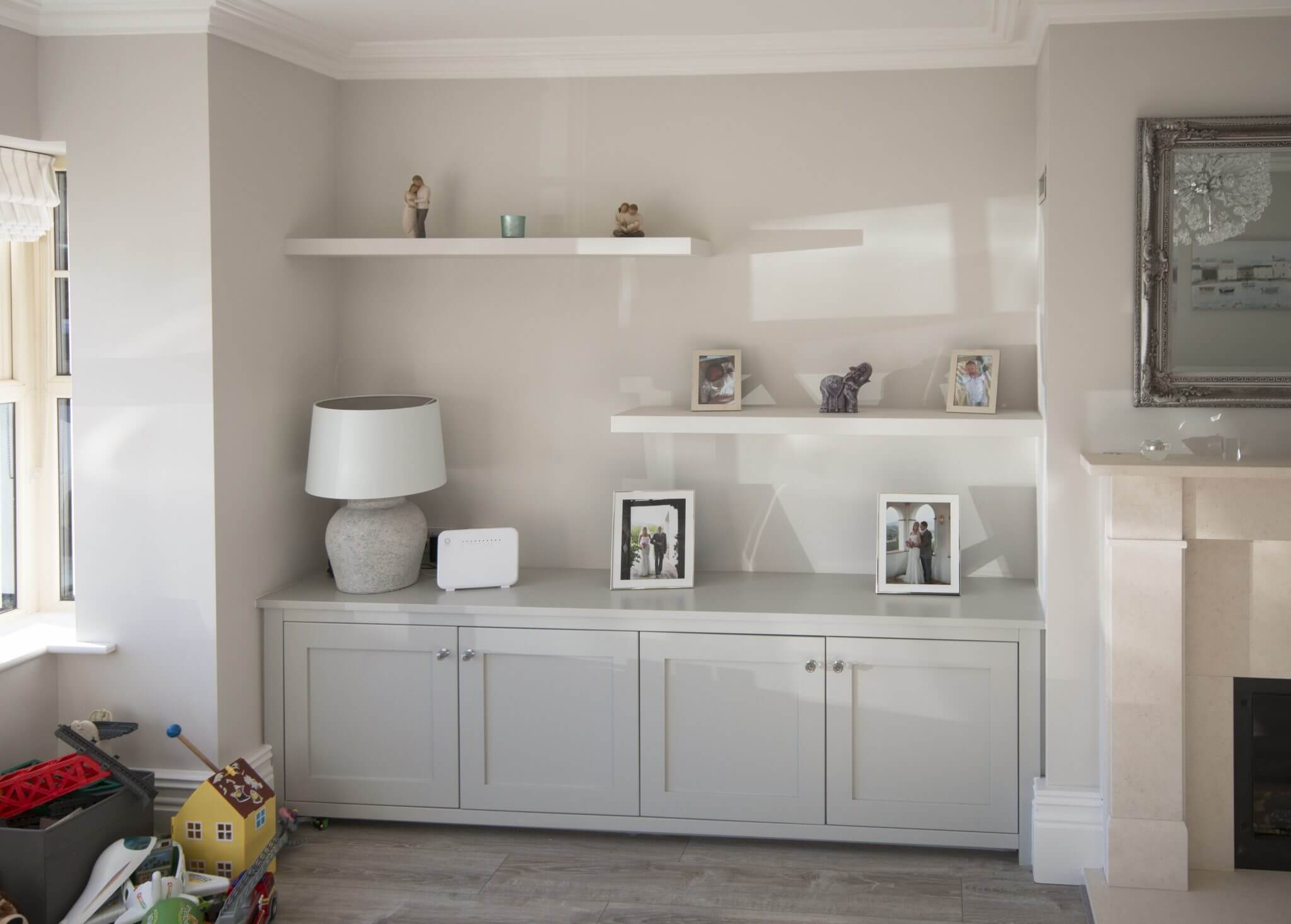 Alcove and Floating Shelves