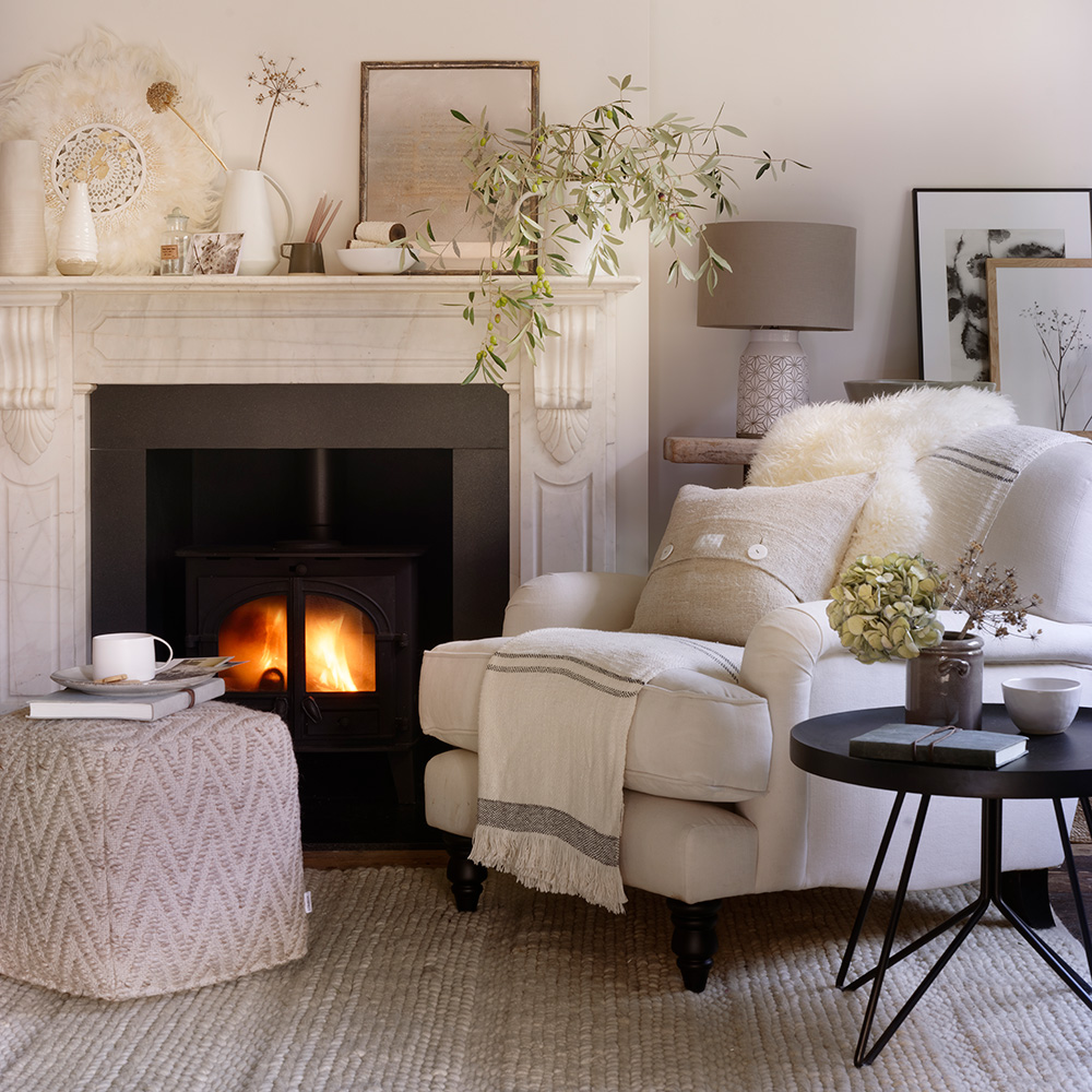 white theme small living room