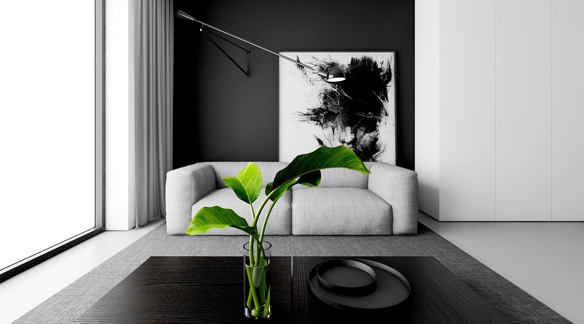 monochromatic theme living room