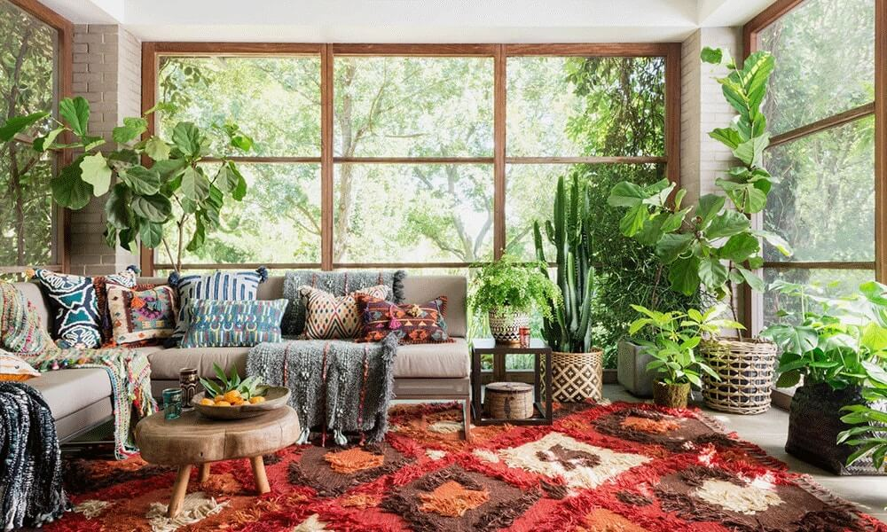bohemian style with plants