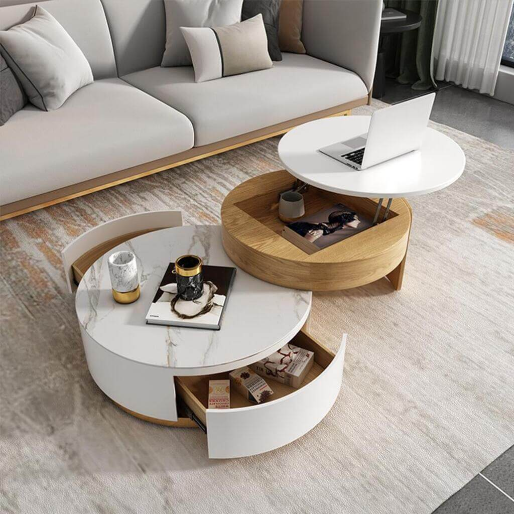 round coffee table with storage