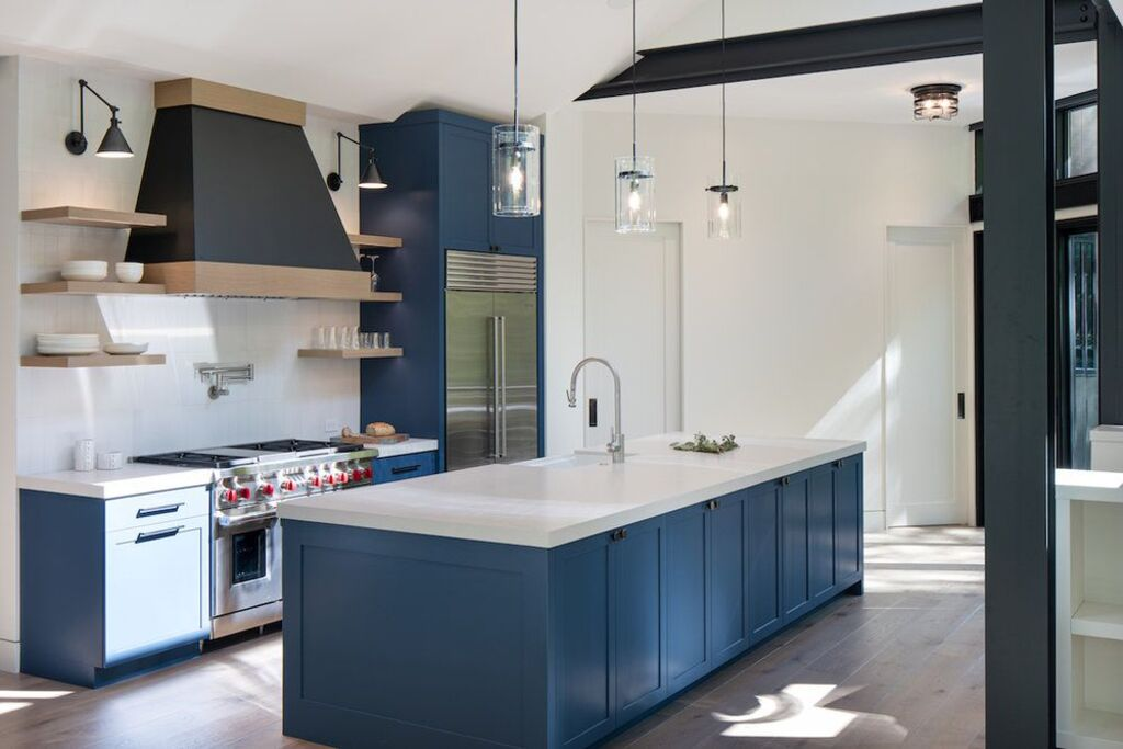 15 Tricks & Tips for Kitchen Makeover with Blue Kitchen Cabinets